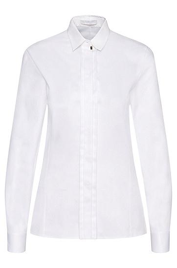Hemdbluse aus Stretch-Baumwolle mit verdeckter Knopfleiste: 'Blista', Gemustert