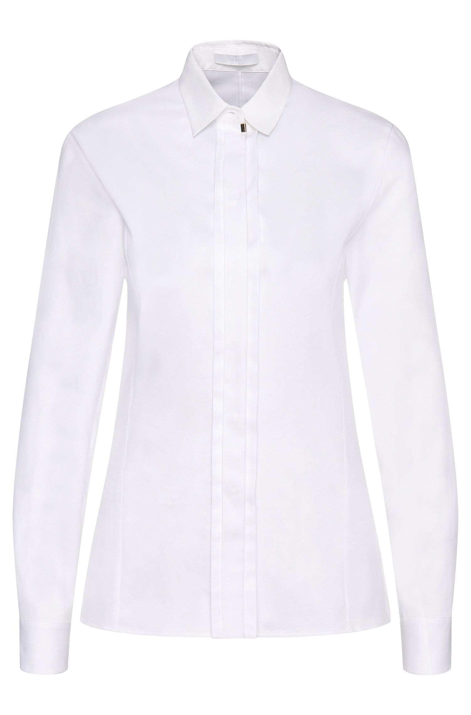 Shirt-style blouse in stretch cotton with a concealed button placket: 'Blista'