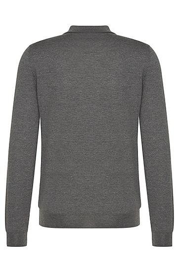 Regular-Fit Tailored-Pullover aus Schurwolle mit Klappkragen: 'T-Bertone', Grau