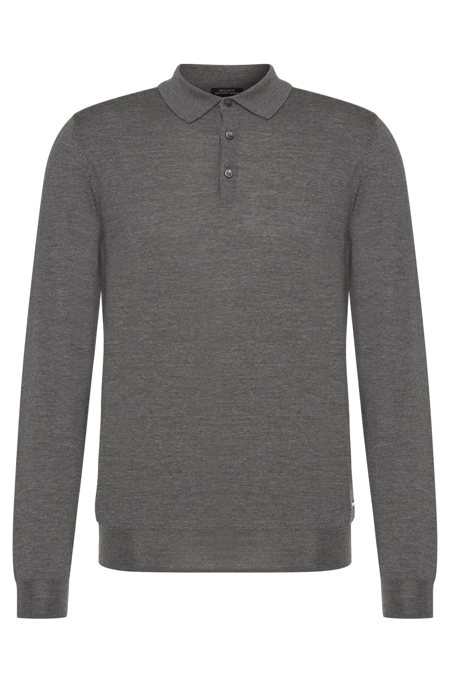 Regular-fit Tailored new-wool sweater with turn-down collar: 'T-Bertone'