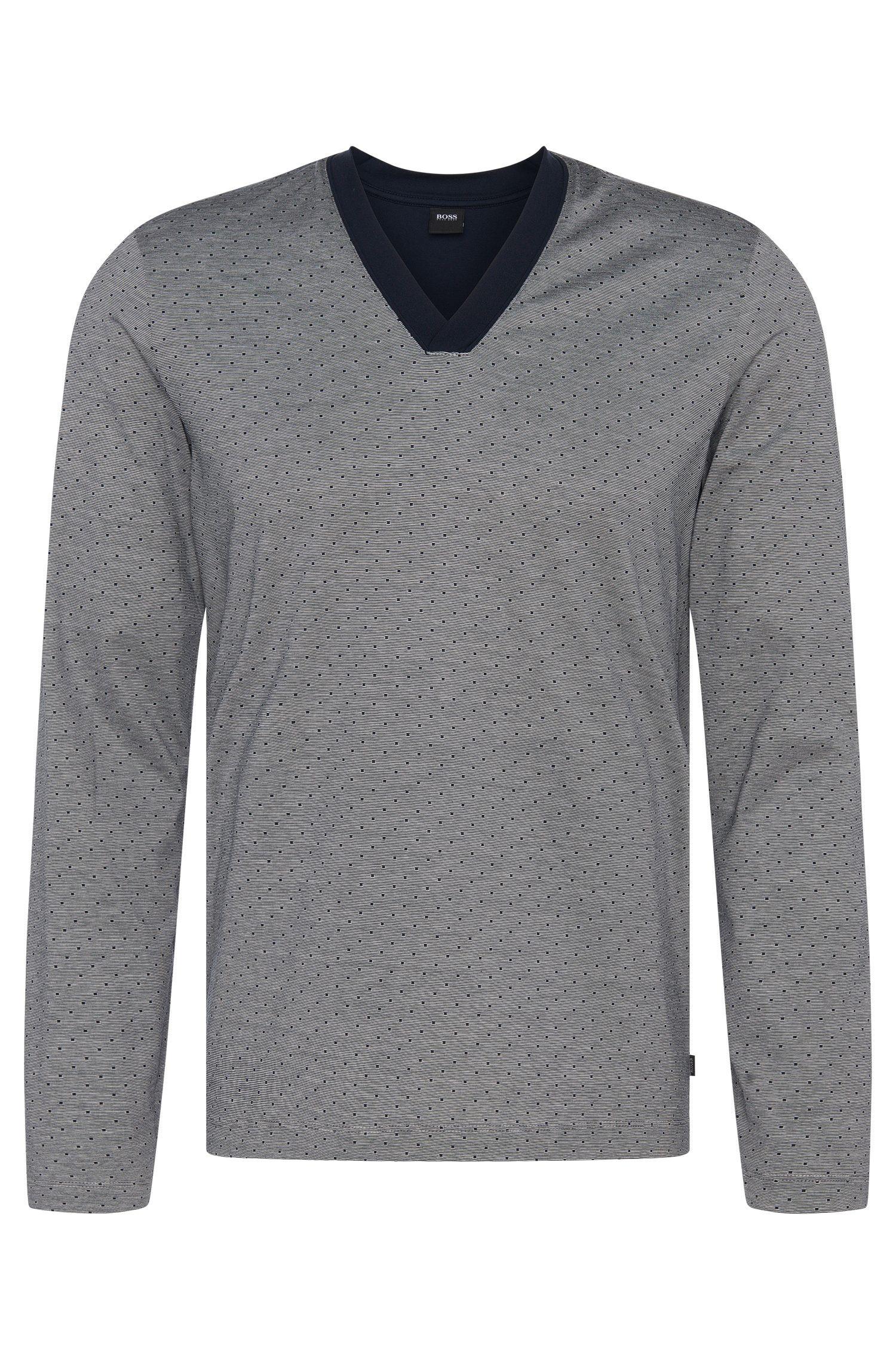 Gemustertes Pyjama-Longsleeve aus Baumwolle: 'LS-Shirt VN'