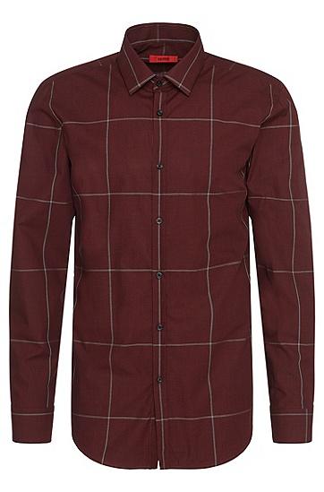 Slim-Fit Hemd aus bügelleichter Baumwolle mit Karo-Muster: 'C-Jero', Dunkelrot