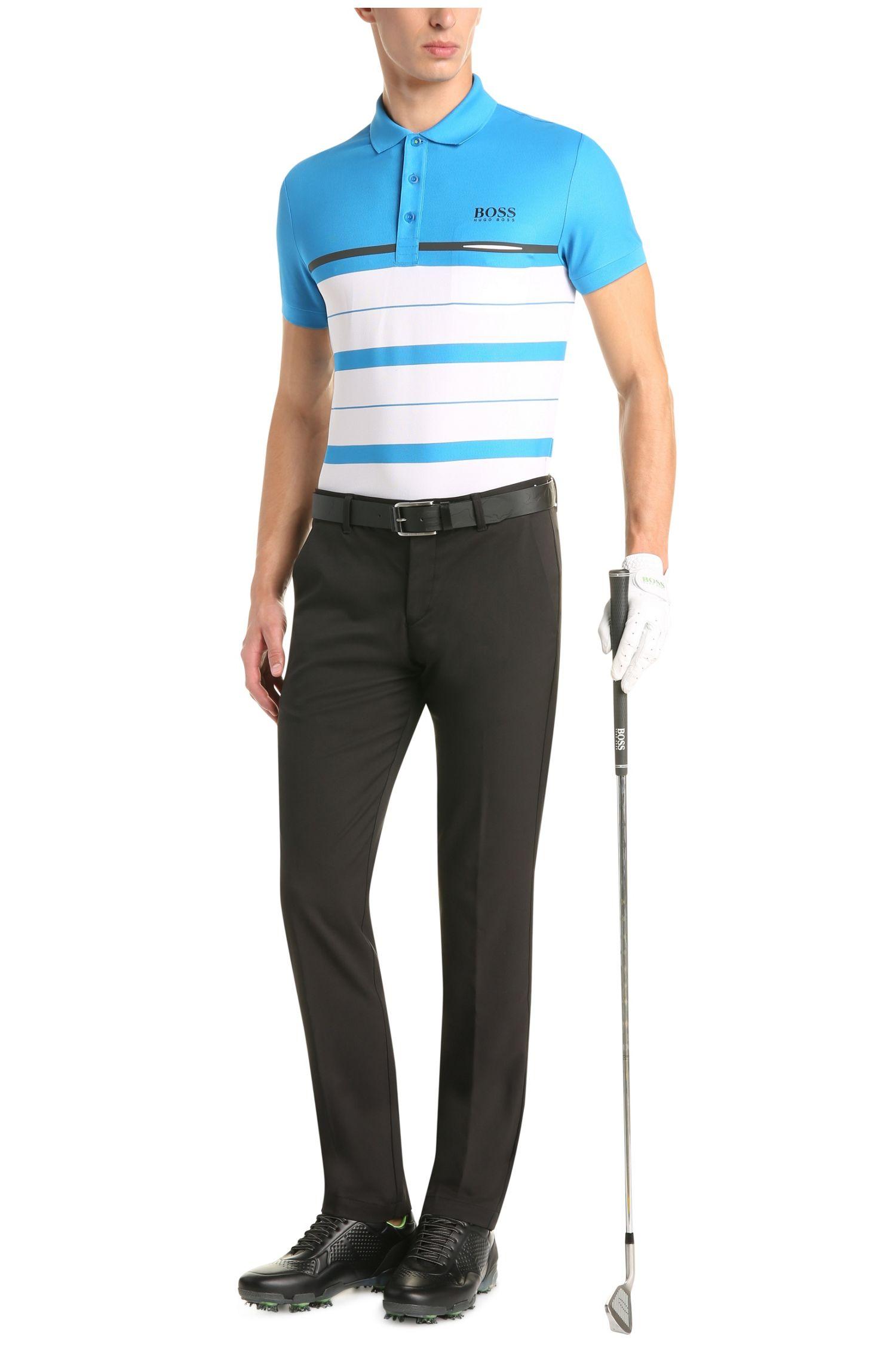 Polo Slim Fit en tissu fonctionnel, à rayures transversales: «PaulePro1»