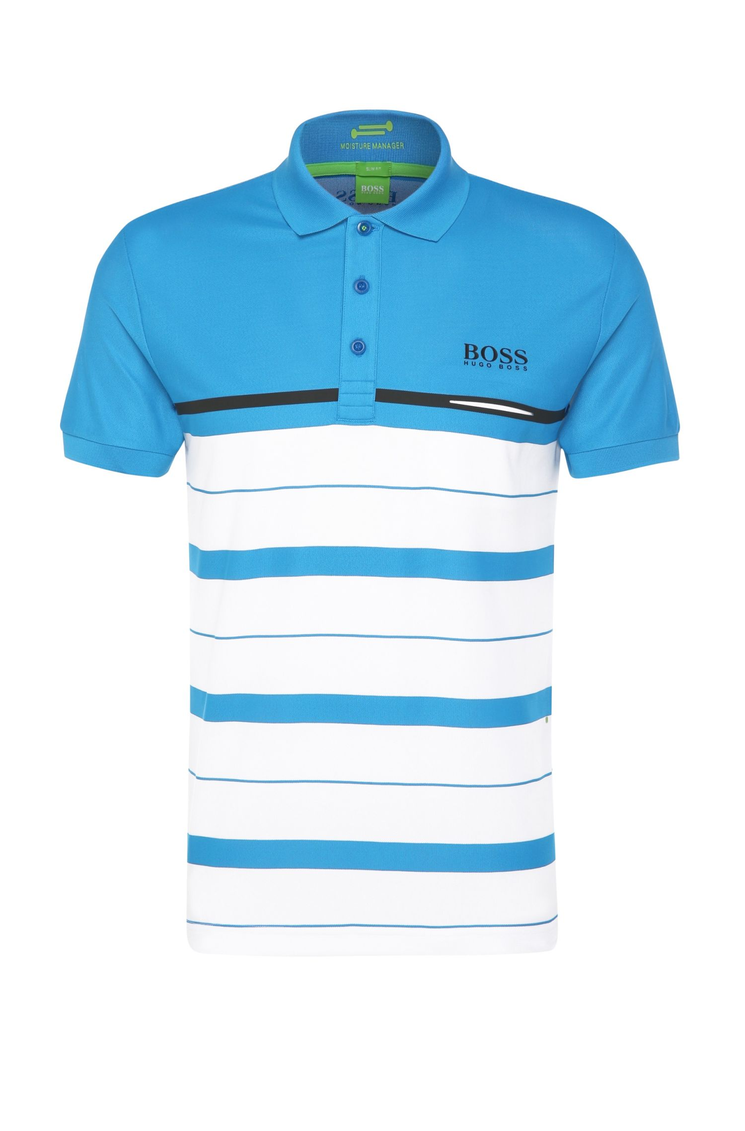 Slim-fit polo shirt in functional fabric with horizontal stripes: 'Paule Pro 1'