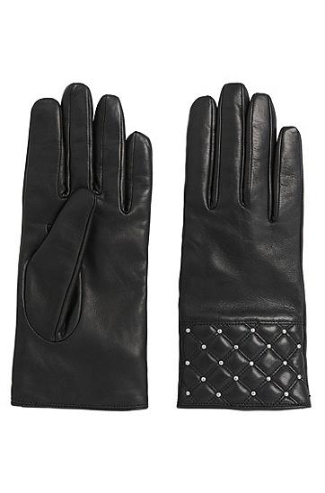 Lederhandschuhe mit dekorativem Nietenbesatz: 'DH 70', Schwarz
