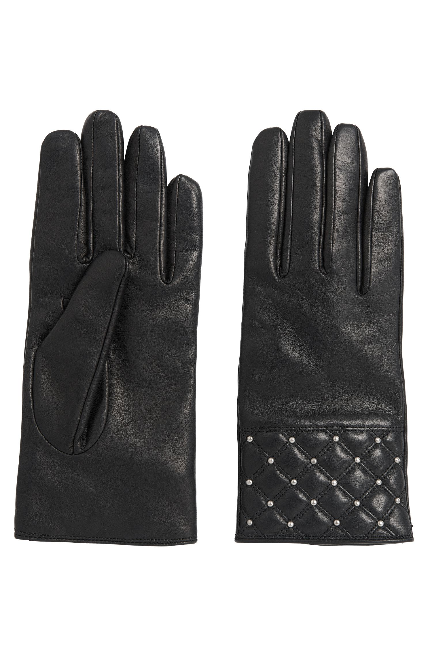 Leather gloves with decorative stud trim: 'DH 70'