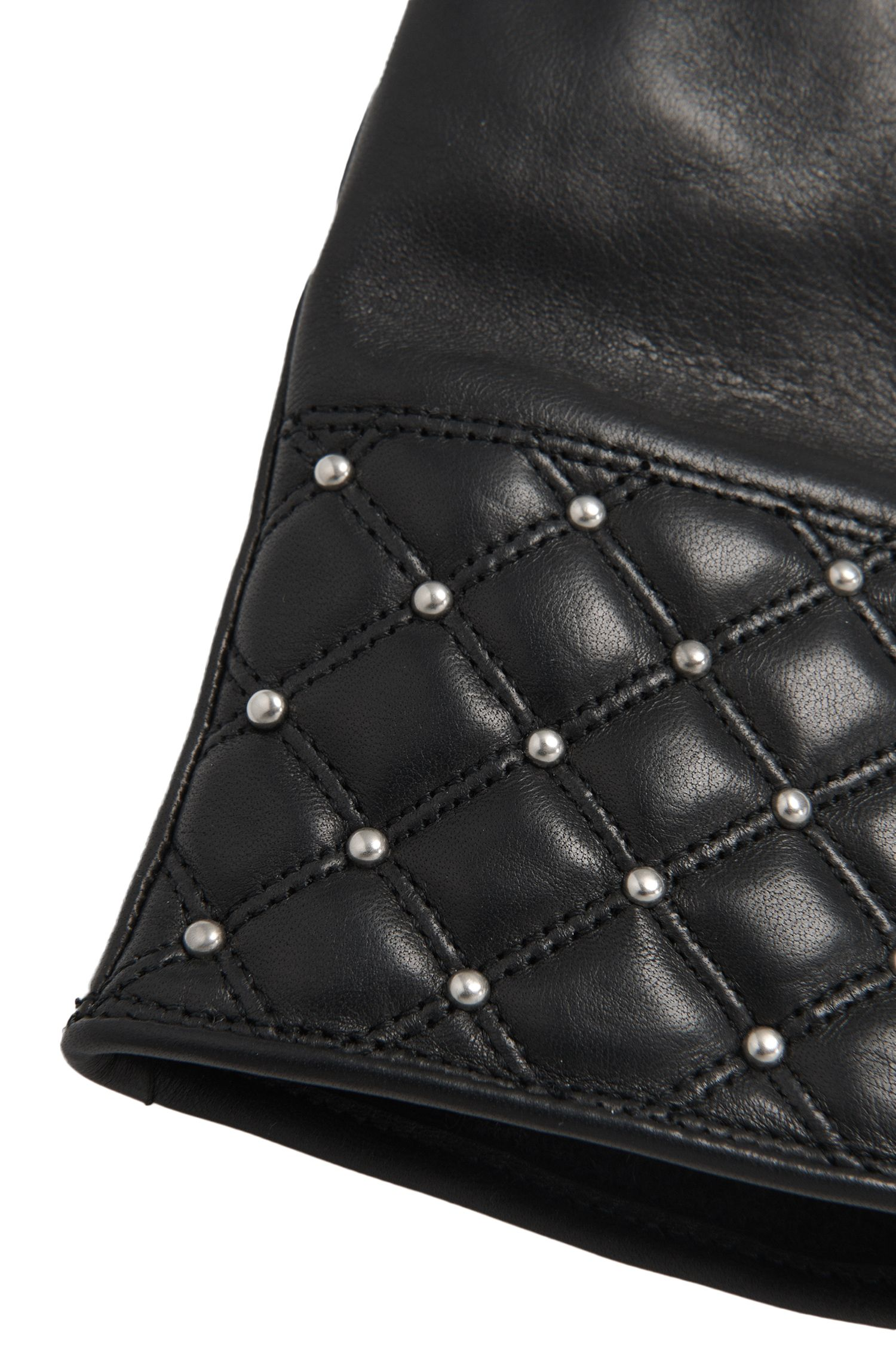 Lederhandschuhe mit dekorativem Nietenbesatz: 'DH 70'