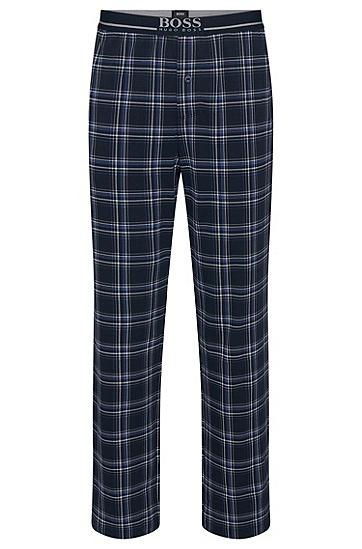 Karierte Pyjama-Hose aus elastischer Baumwolle: 'Long Pant EW', Dunkelblau