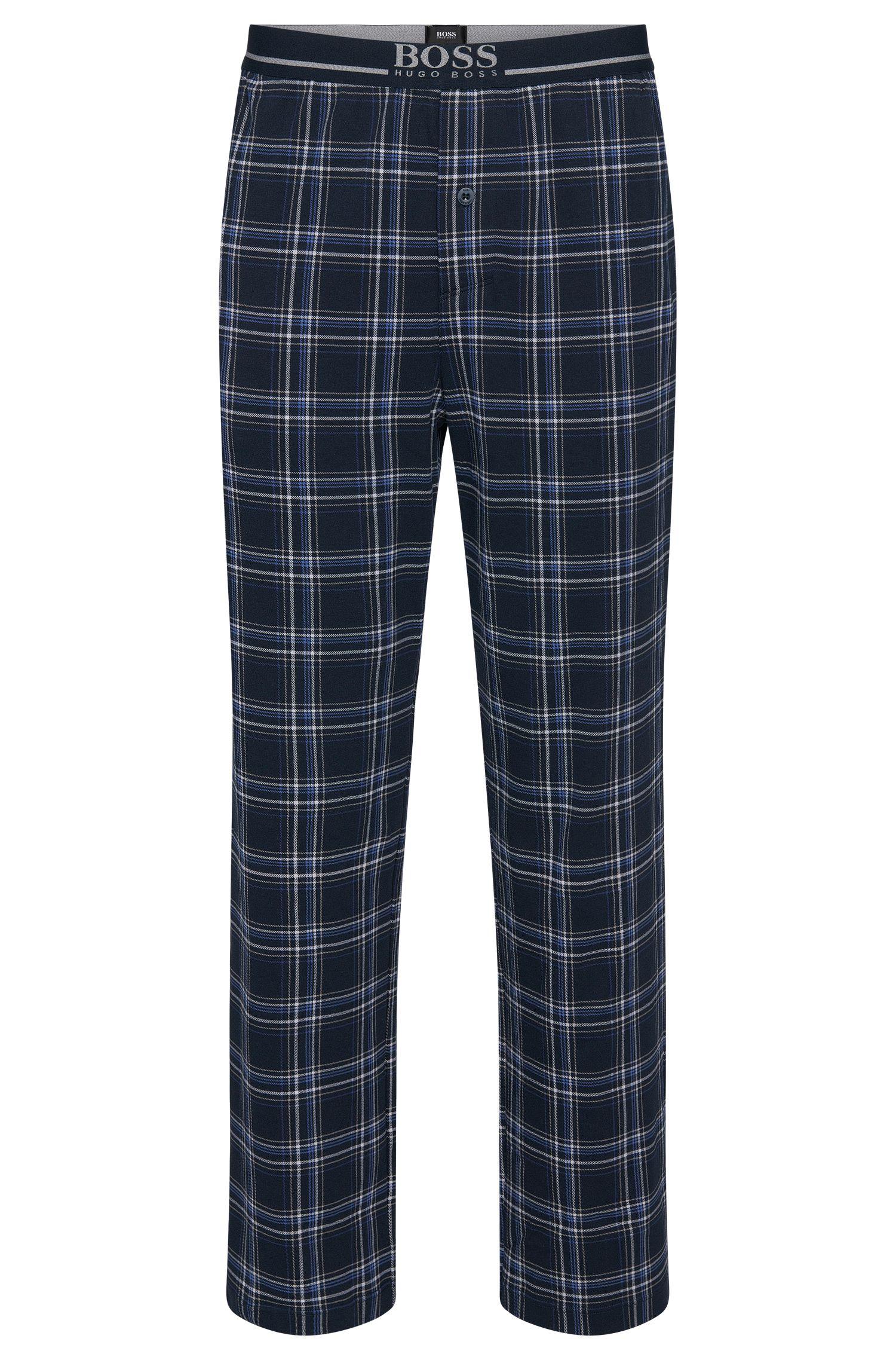 Pantalon de pyjama à carreaux en coton extensible: «Long Pant EW»