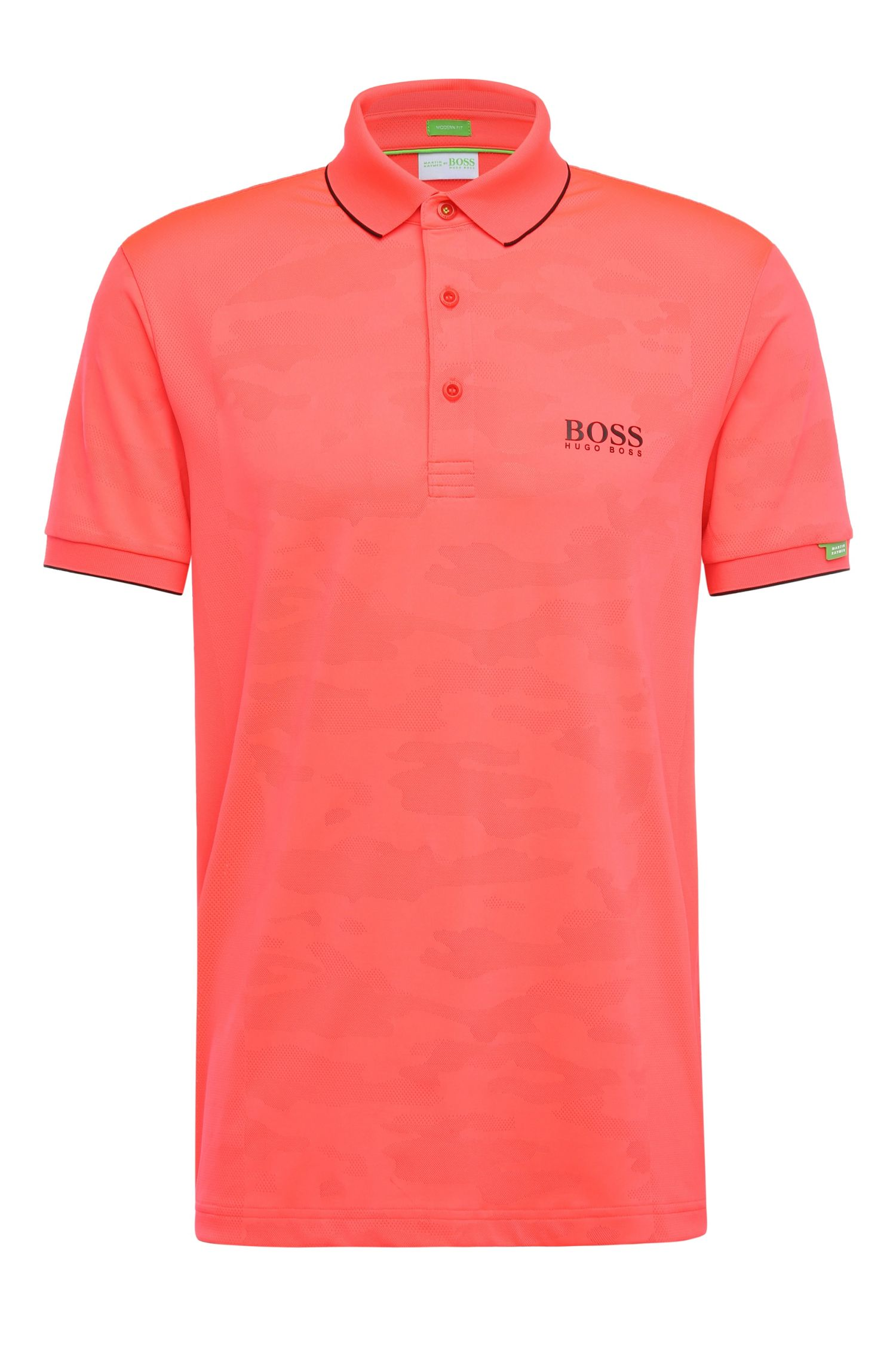 Regular-fit golf polo shirt in a stretchy fabric blend with camouflage texture: 'Paddy MK 2'