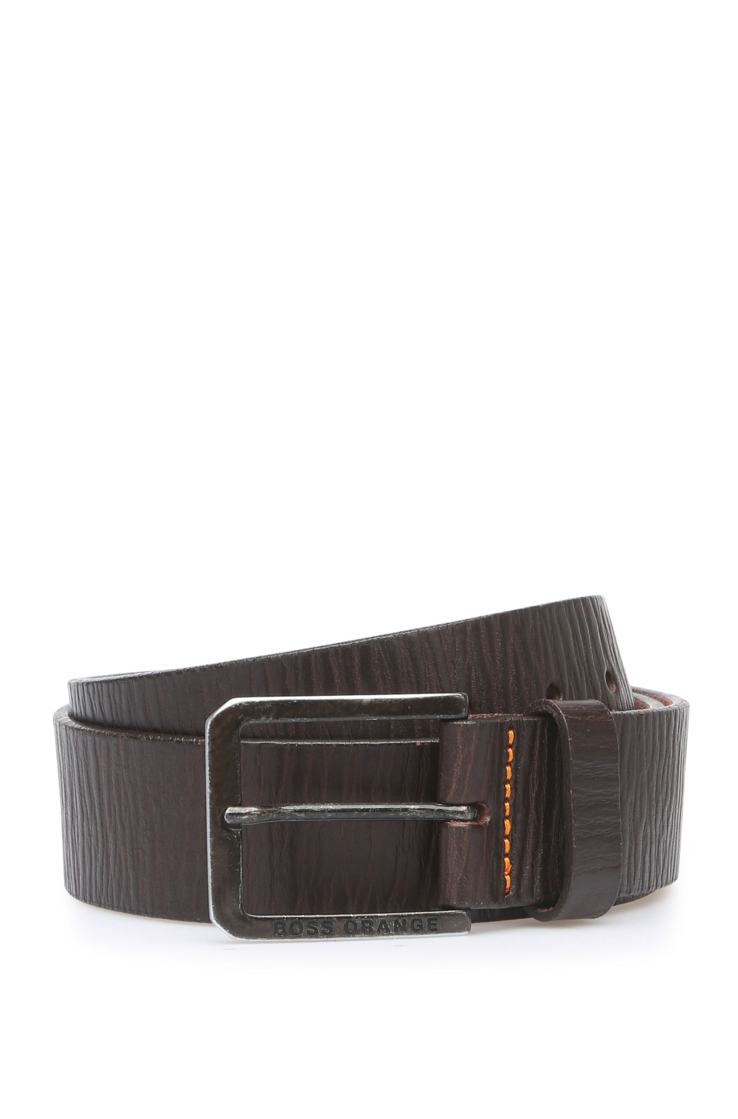 Leather belt in vintage look: 'Jonty_Sz40_ltgr'