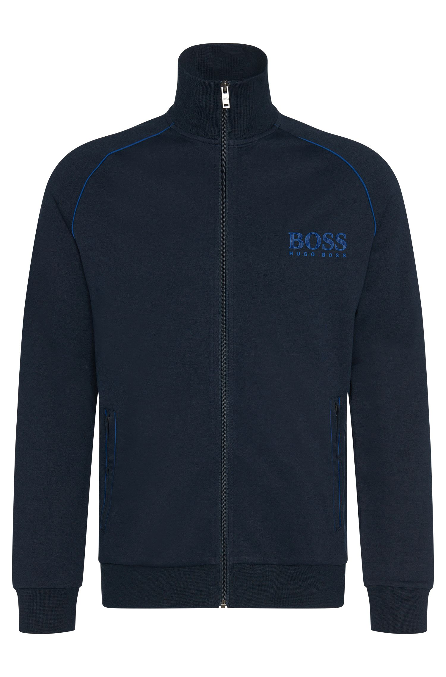 Sweatshirt jacket in cotton blend with colour-contrasting piping: 'Jacket Zip'