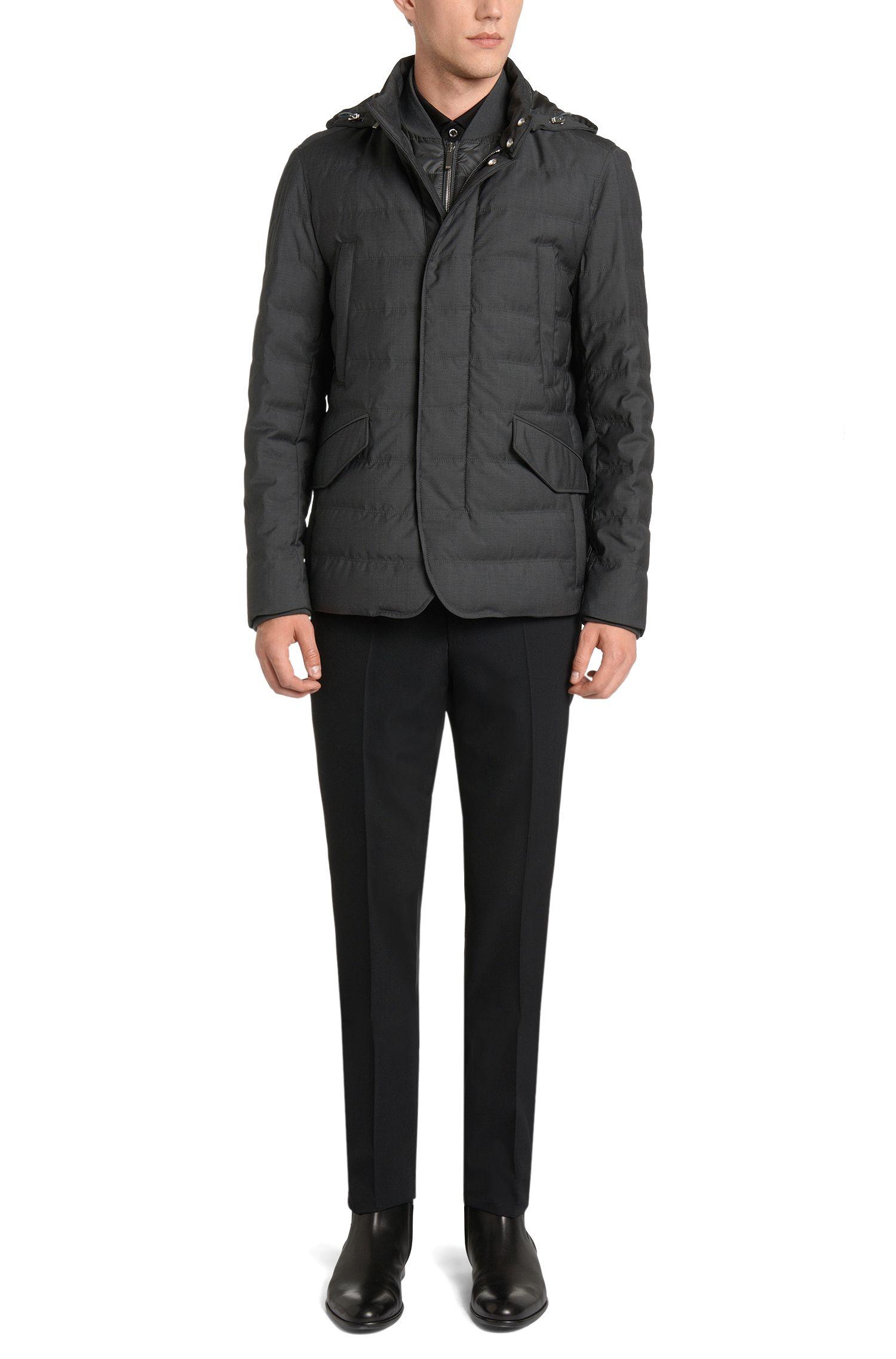 Wasserabweisende Tailored Daunenjacke mit heraustrennbarer Reißverschlussblende: 'T-Darkin'