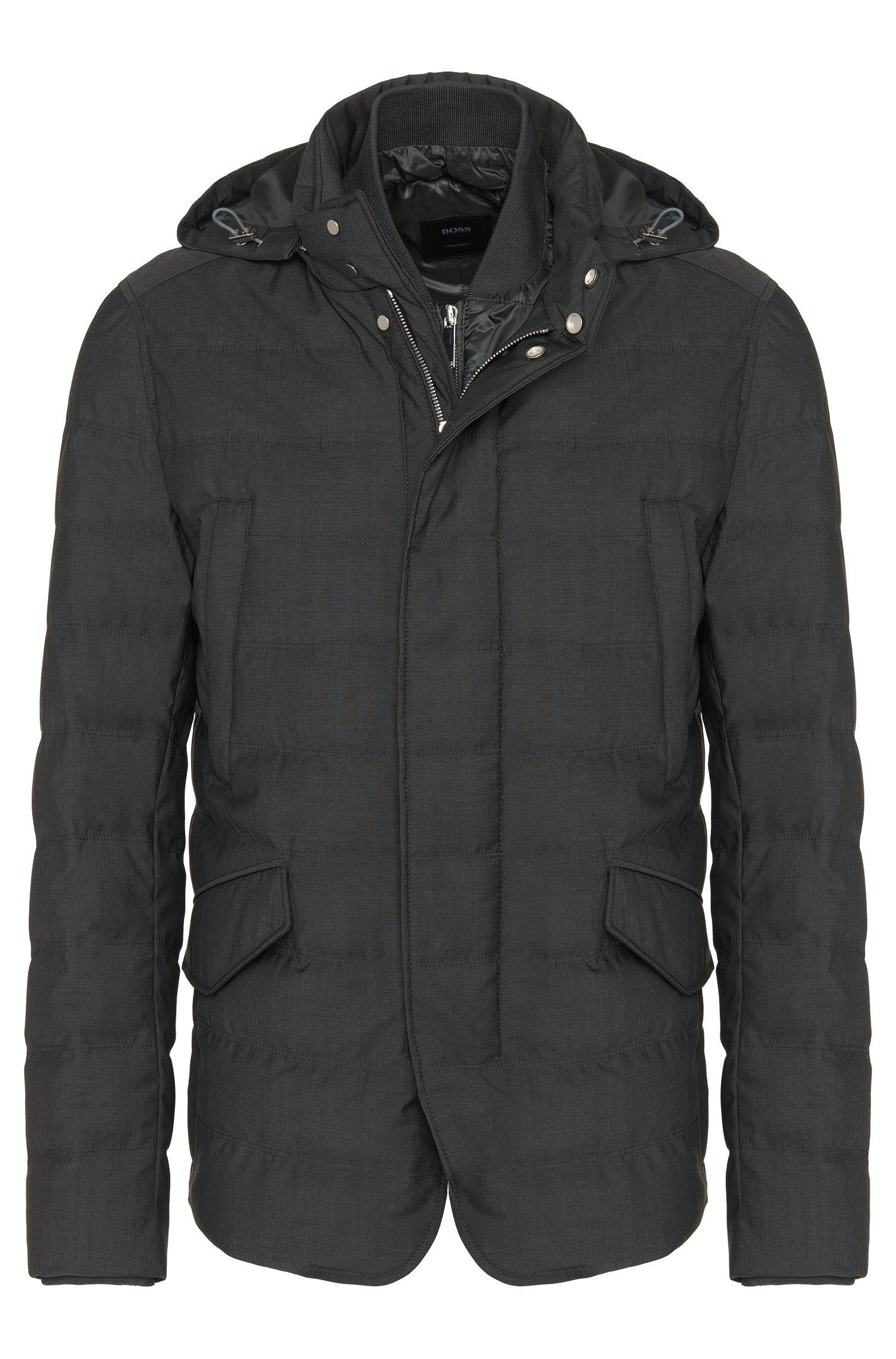 Water-repellent Tailored down jacket with detachable zip panel: 'T-Darkin'