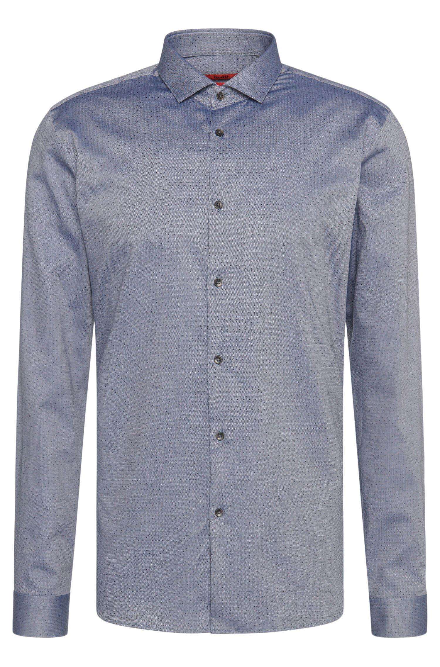 Patterned slim-fit shirt in cotton with cutaway collar: 'Erondo'