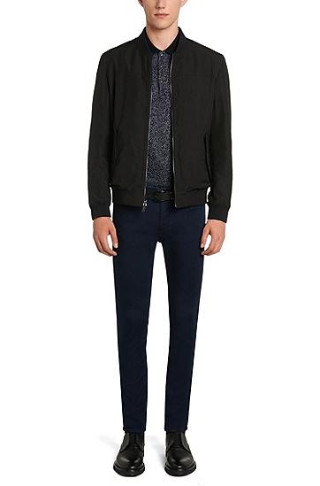Gemustertes Regular-Fit Poloshirt aus Baumwolle: 'Dinello', Dunkelblau