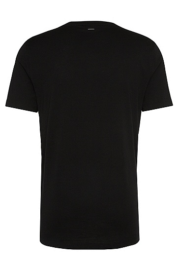 Loose-Fit T-Shirt aus Baumwolle mit Rosen-Print: 'Dafiosi', Schwarz