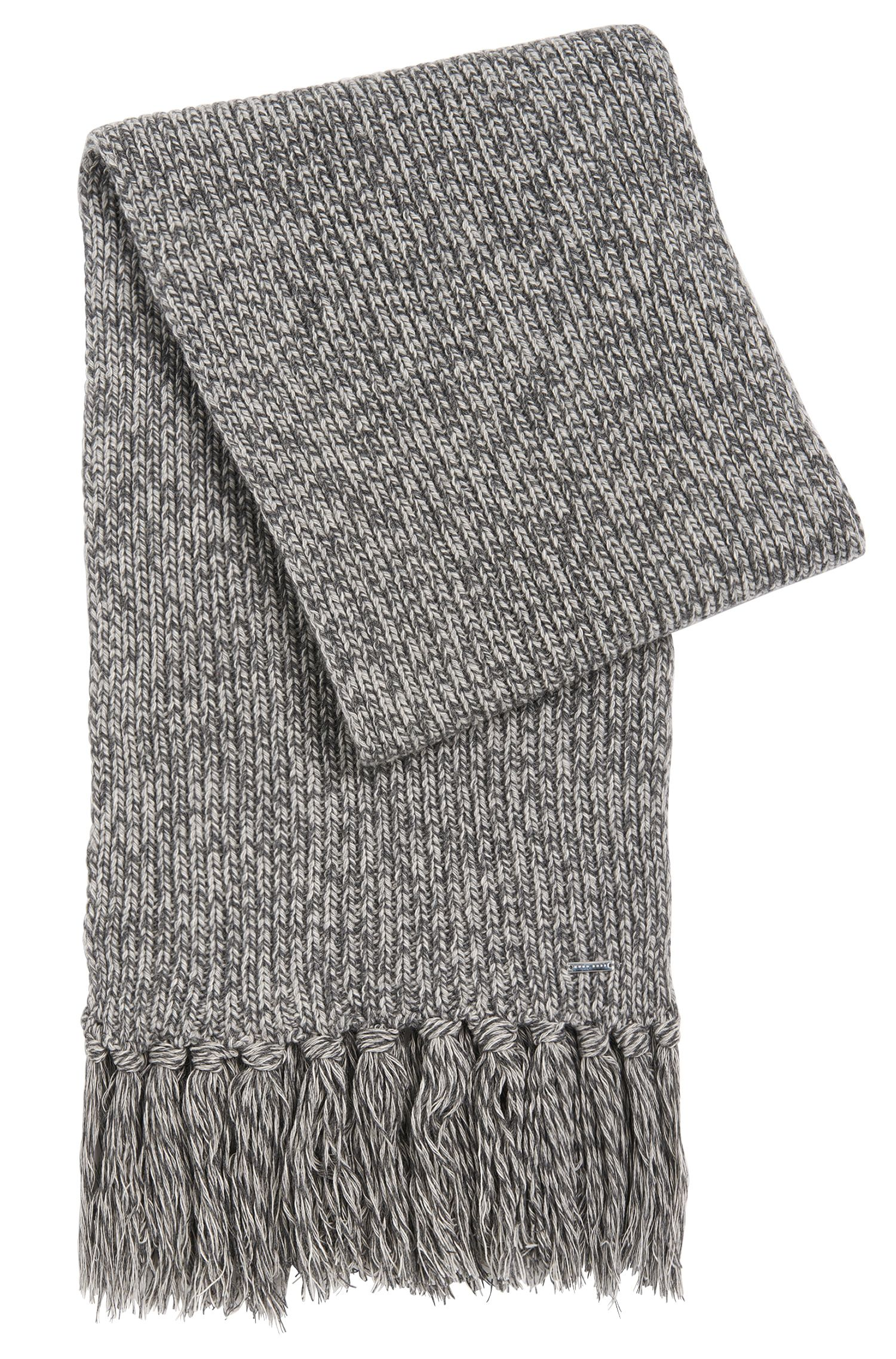 Tailored scarf in cashmere blend with fringes: 'T-Bassetto'
