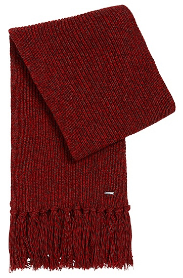 Tailored scarf in cashmere blend with fringes: 'T-Bassetto', Light Red