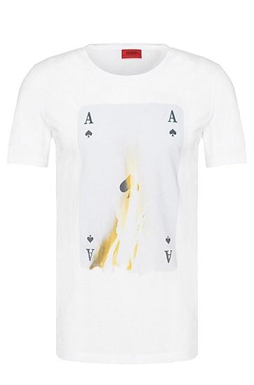 Regular-Fit T-Shirt aus Baumwolle mit Print: 'Doker', Weiß