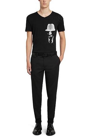 Regular-Fit T-Shirt aus Baumwolle mit originellem Print: 'Dellas', Schwarz