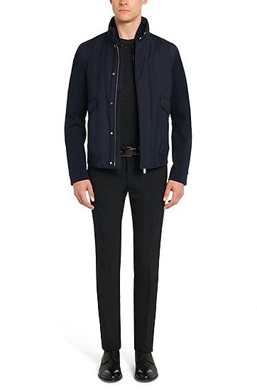 Tailored Jacke aus Schurwolle mit heraustrennbarer Reißverschlussblende: 'T-Cancun', Dunkelblau