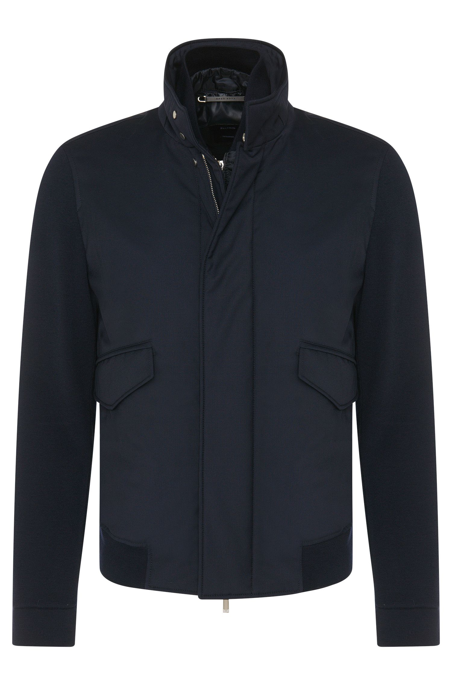 Tailored jacket in new wool with detachable zip panel: 'T-Cancun'
