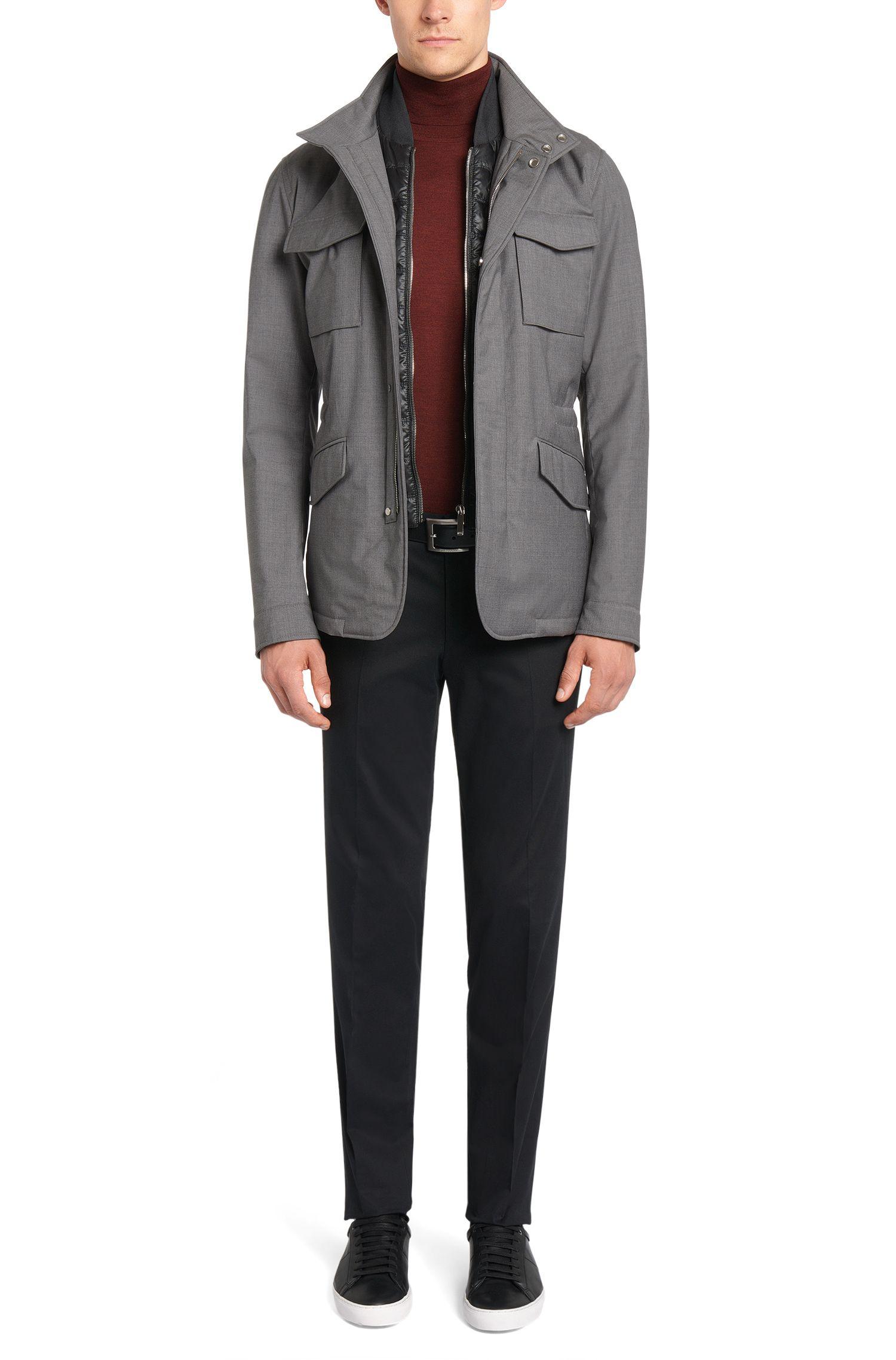 Veste Tailored chiné en laine vierge avec empiècement zippé amovible: «T-Camien»