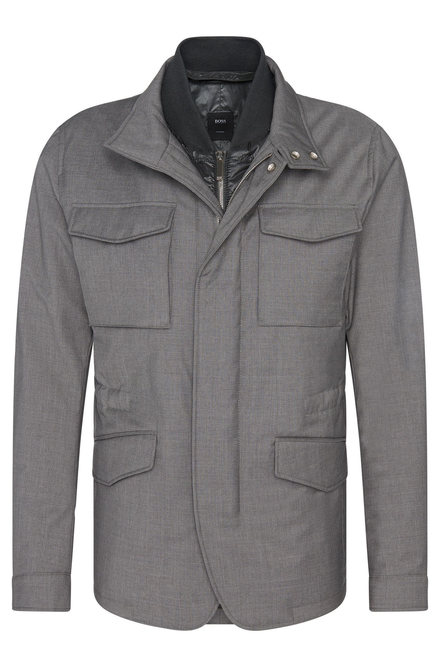 Mottled Tailored jacket in new wool with detachable zip panel: 'T-Camien'
