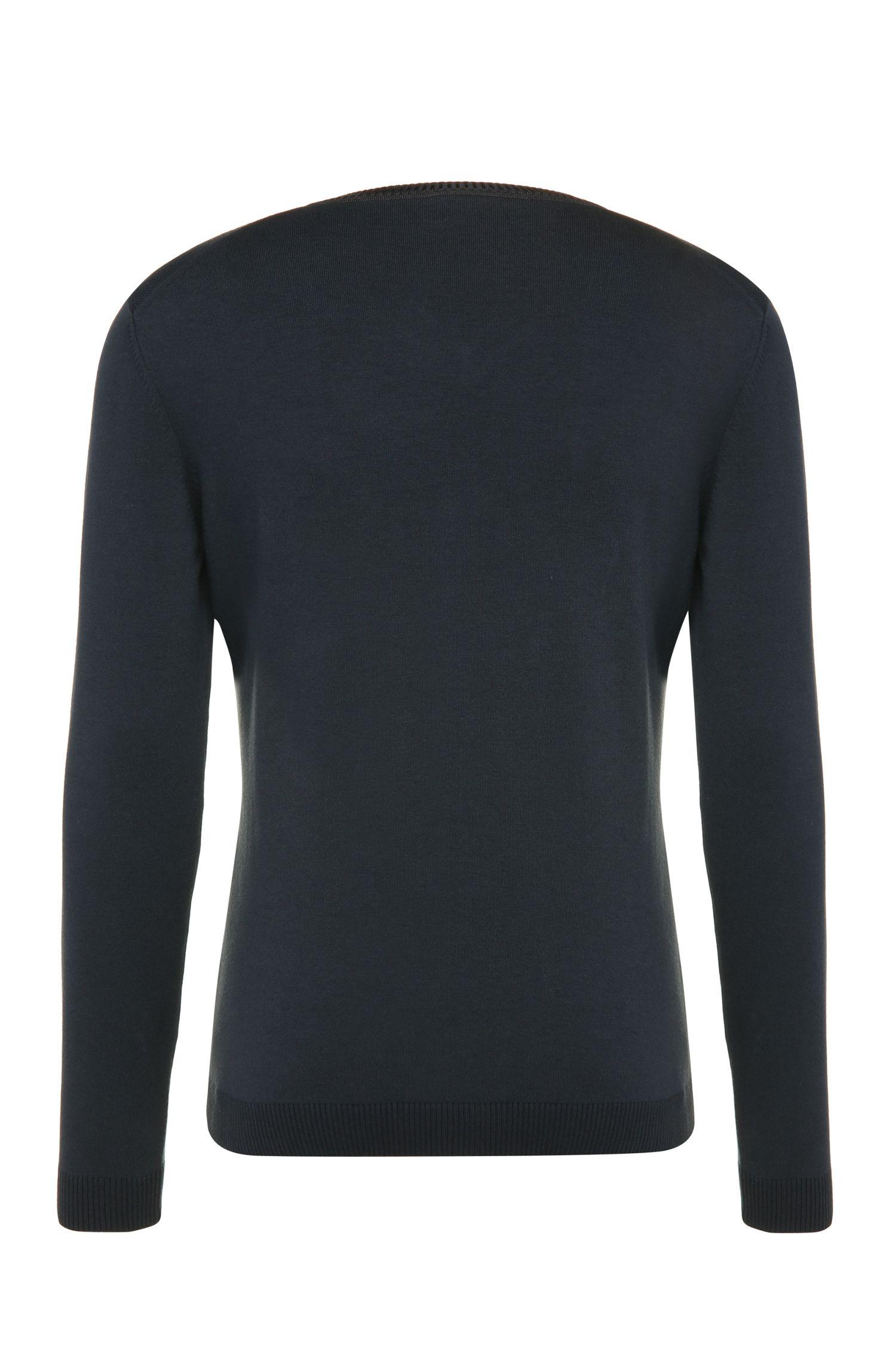 Gebreide slim-fit trui van een elastische katoenmix: 'Vortel'