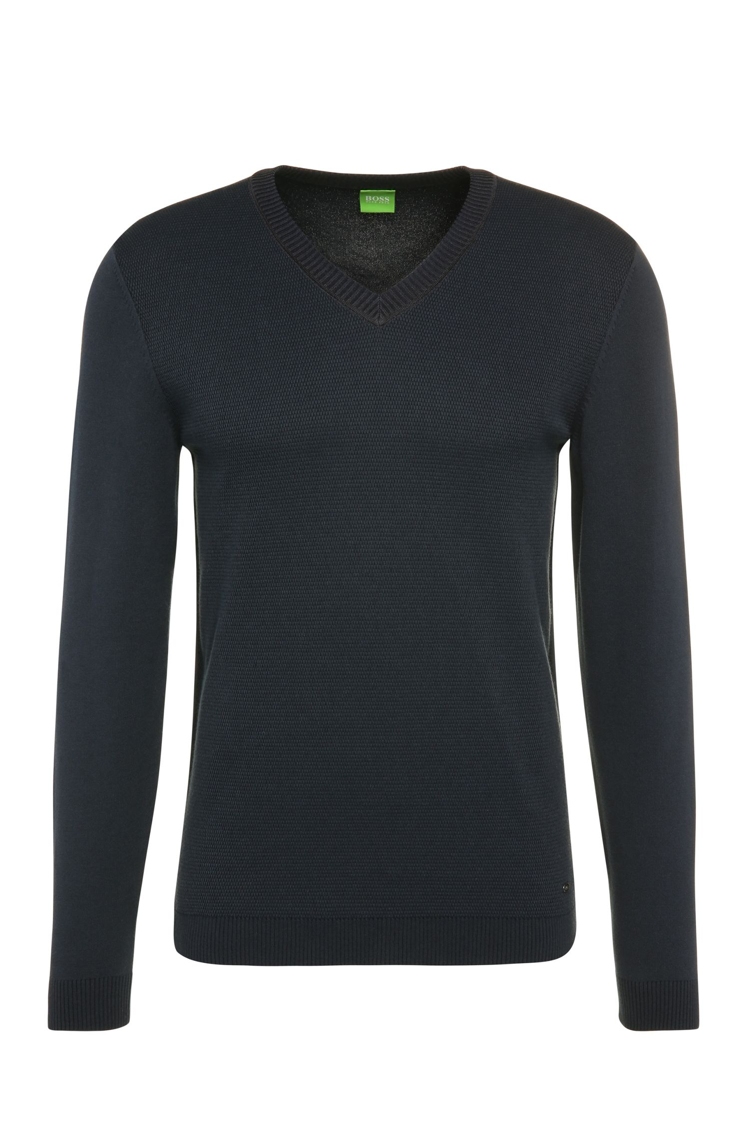 Slim-fit knit sweater in stretch cotton blend: 'Vortel'