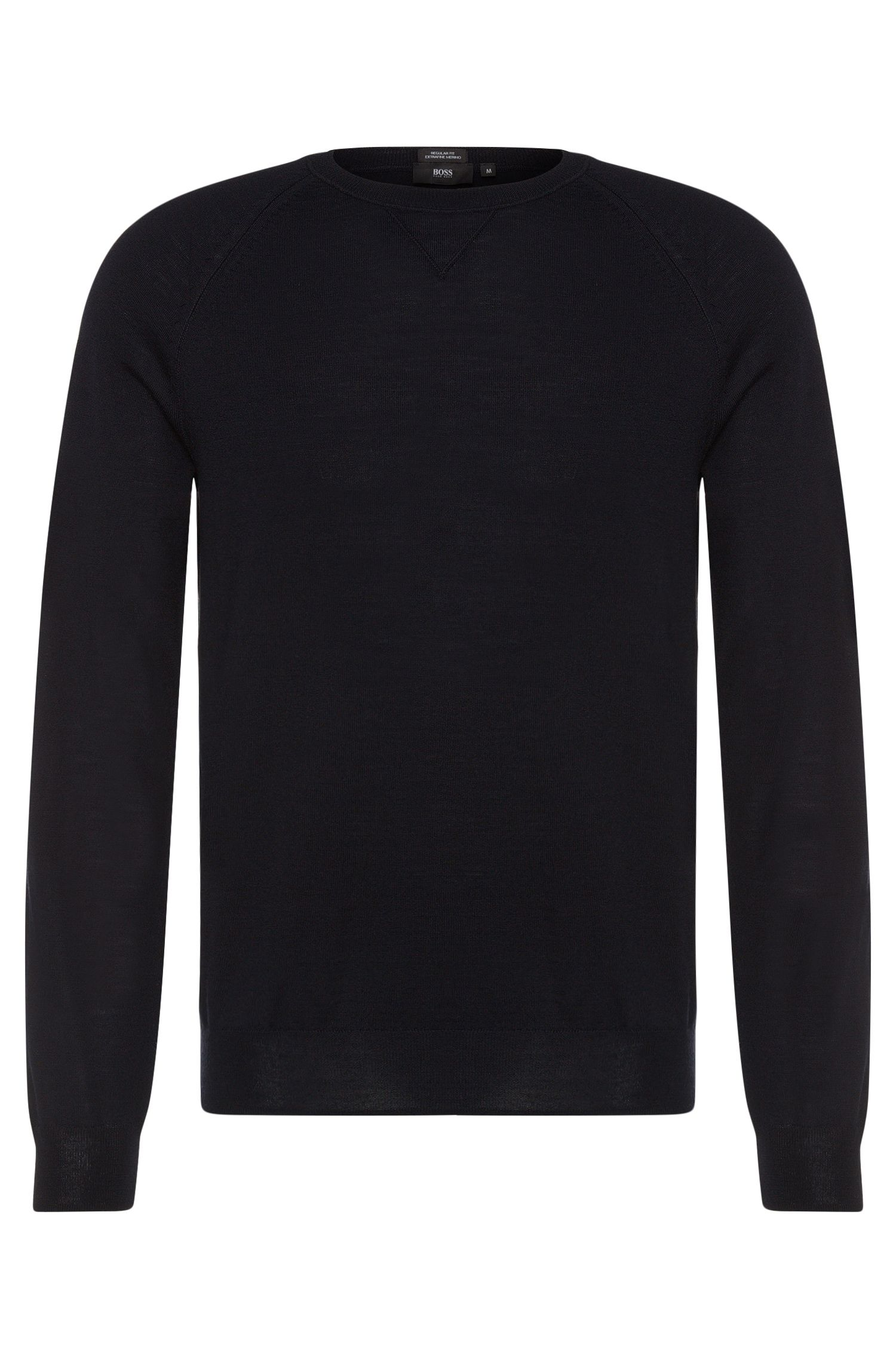 Pull Regular Fit Travel Line uni en laine vierge : « Barni »