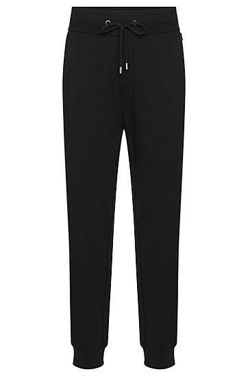 Unifarbene Sweathose aus Baumwolle: 'Long Pant Cuffs', Schwarz