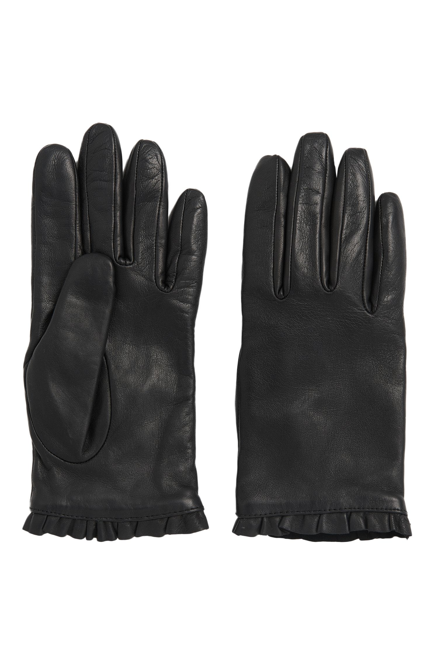 Leather gloves with flounced border: 'DH 71'
