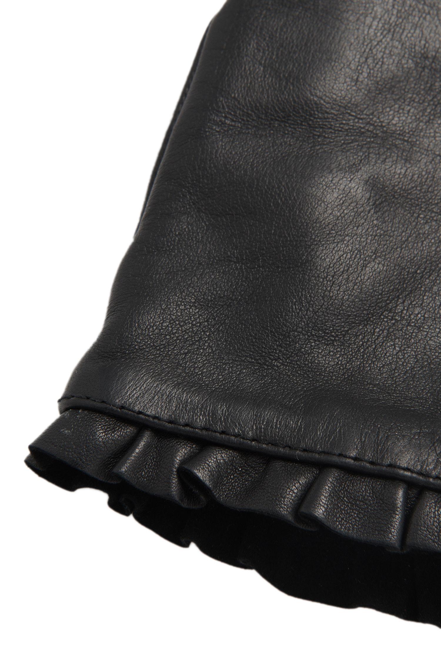 Lederhandschuhe mit Volant-Borte: 'DH 71'