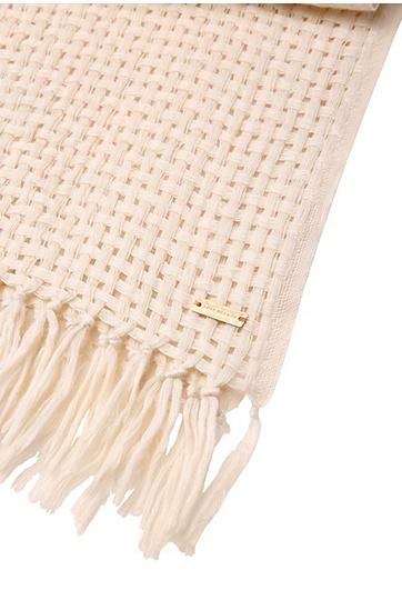 Grob gewebter Schal aus Woll-Mix: ´Nastructure`, Natur