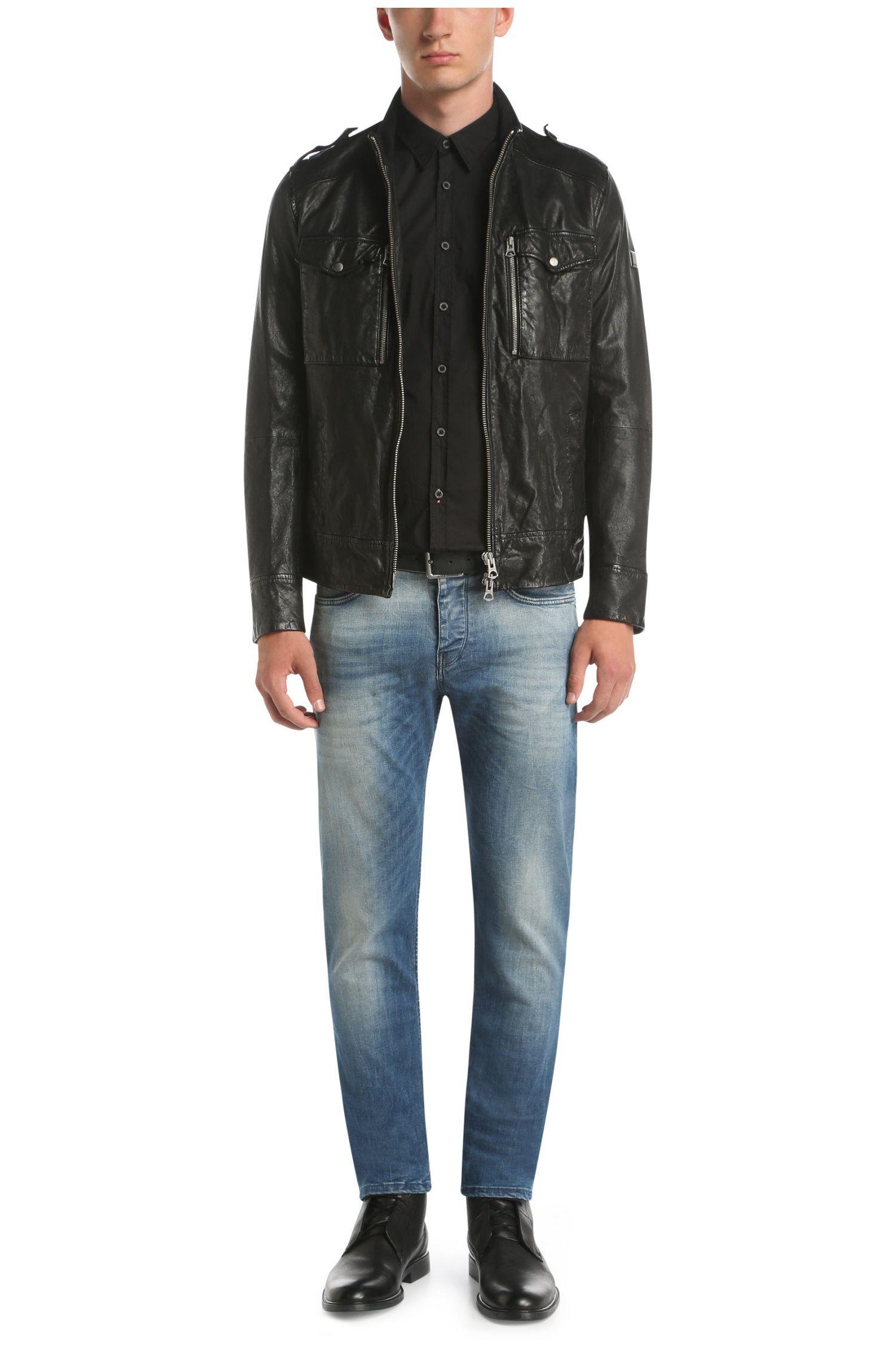 Slim-Fit Jacke aus Leder mit Vintage-Finish: ´Jespar1`