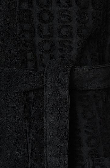 Morgenmantel aus Baumwoll-Mix mit Logo-Print: 'Hooded Robe', Schwarz