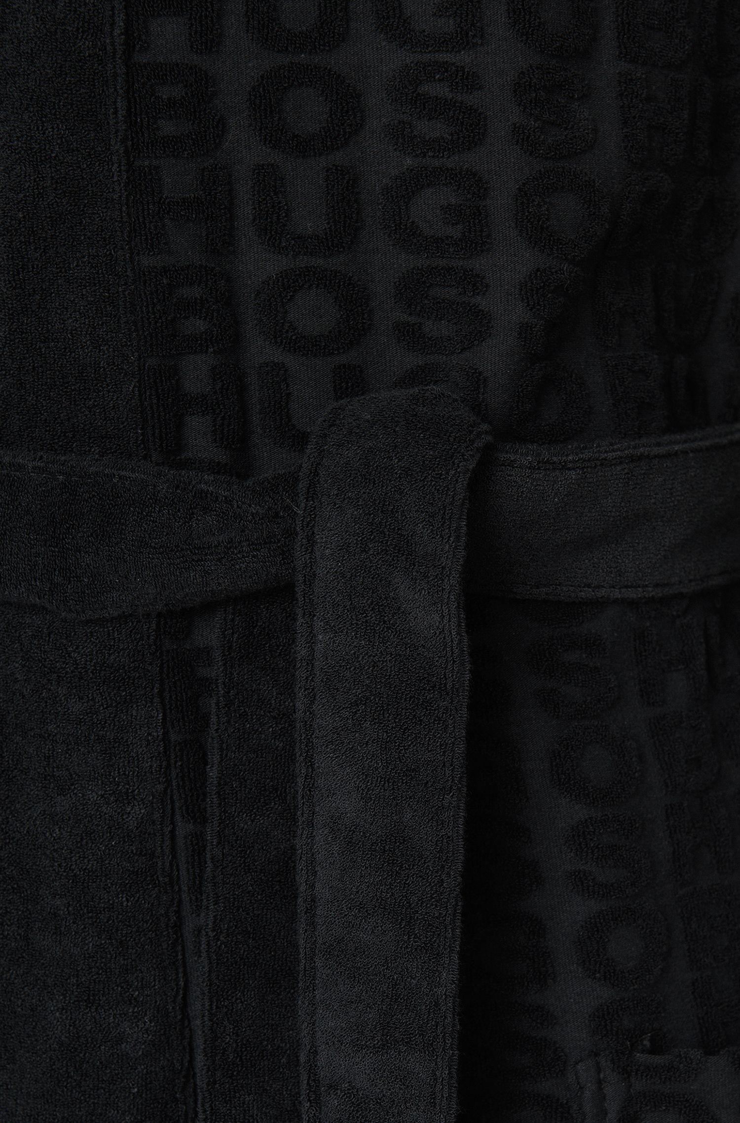 Ochtendmantel van een katoenmix met logoprint: 'Hooded Robe'