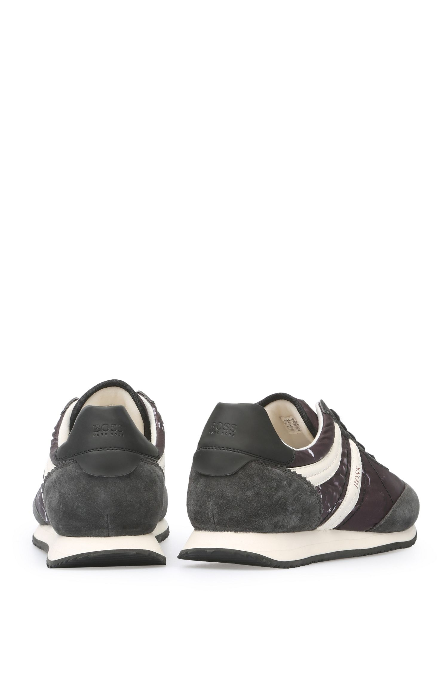 Baskets en textile et matière velours avec parties à effet cuir: «Adrenal_Runn_nypr»
