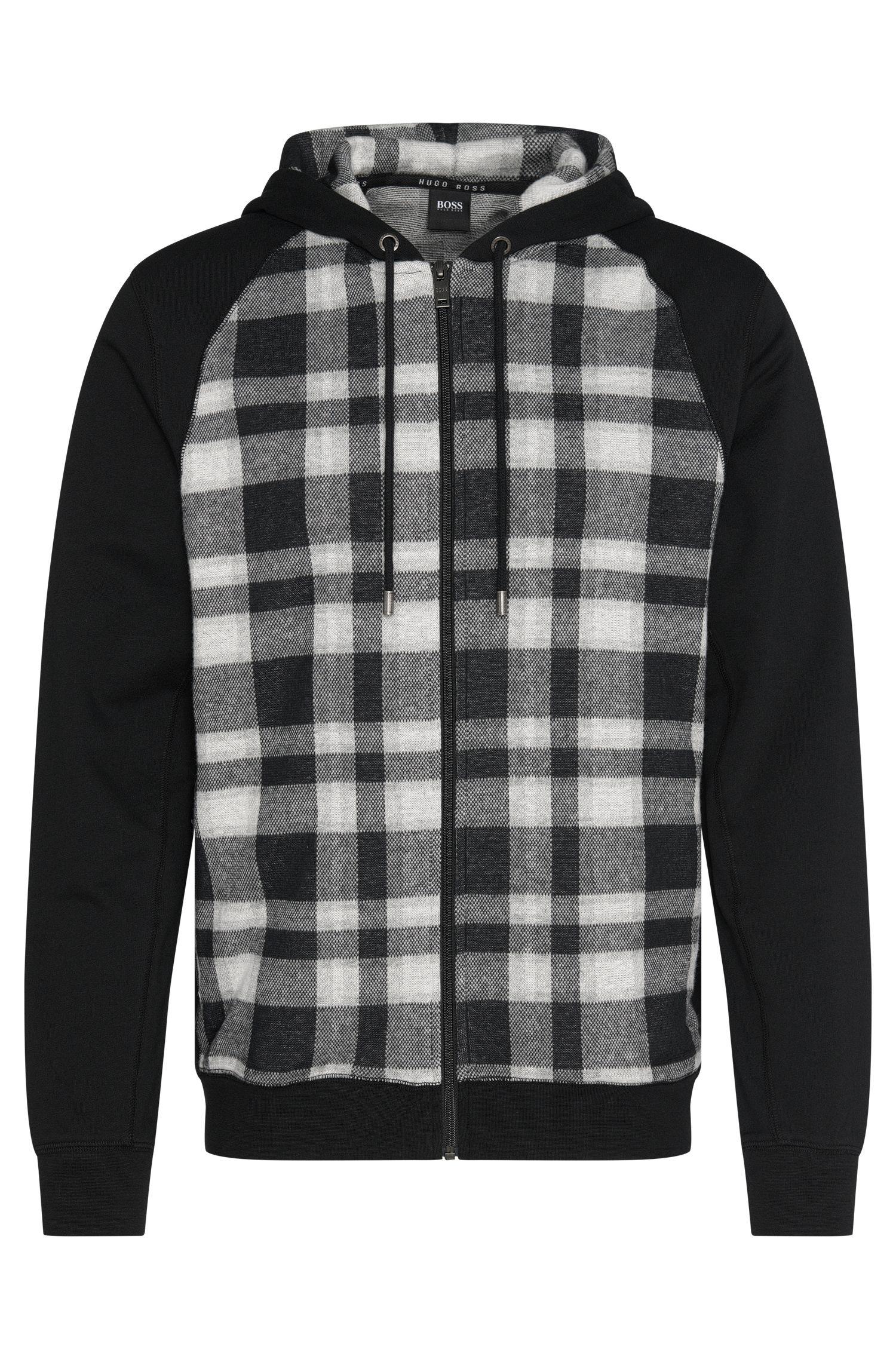 Giubbotto in felpa a scacchi in cotone con cappuccio: 'Jacket Hooded'
