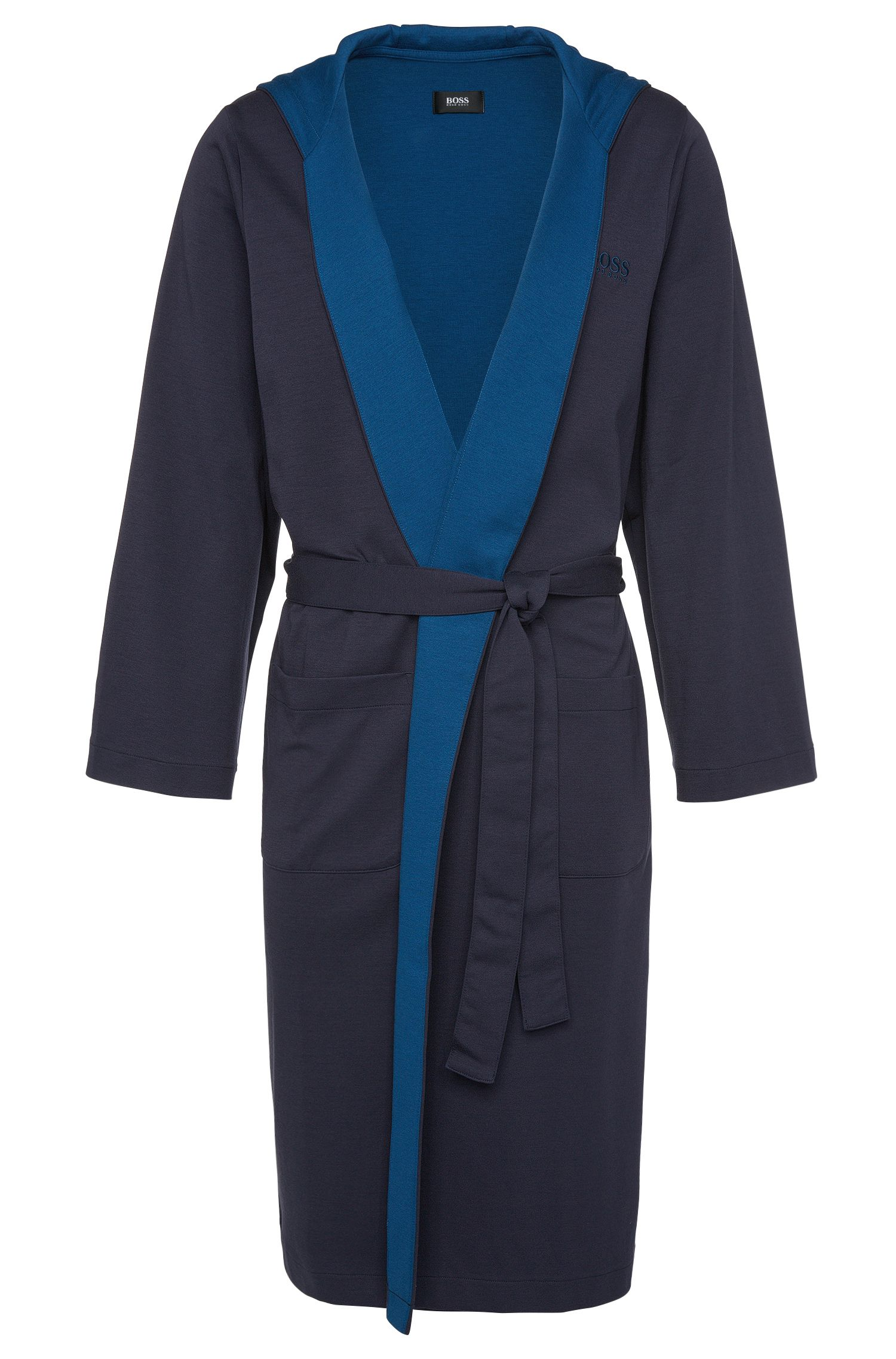 Cotton blend dressing gown with hood: 'Hooded Robe'