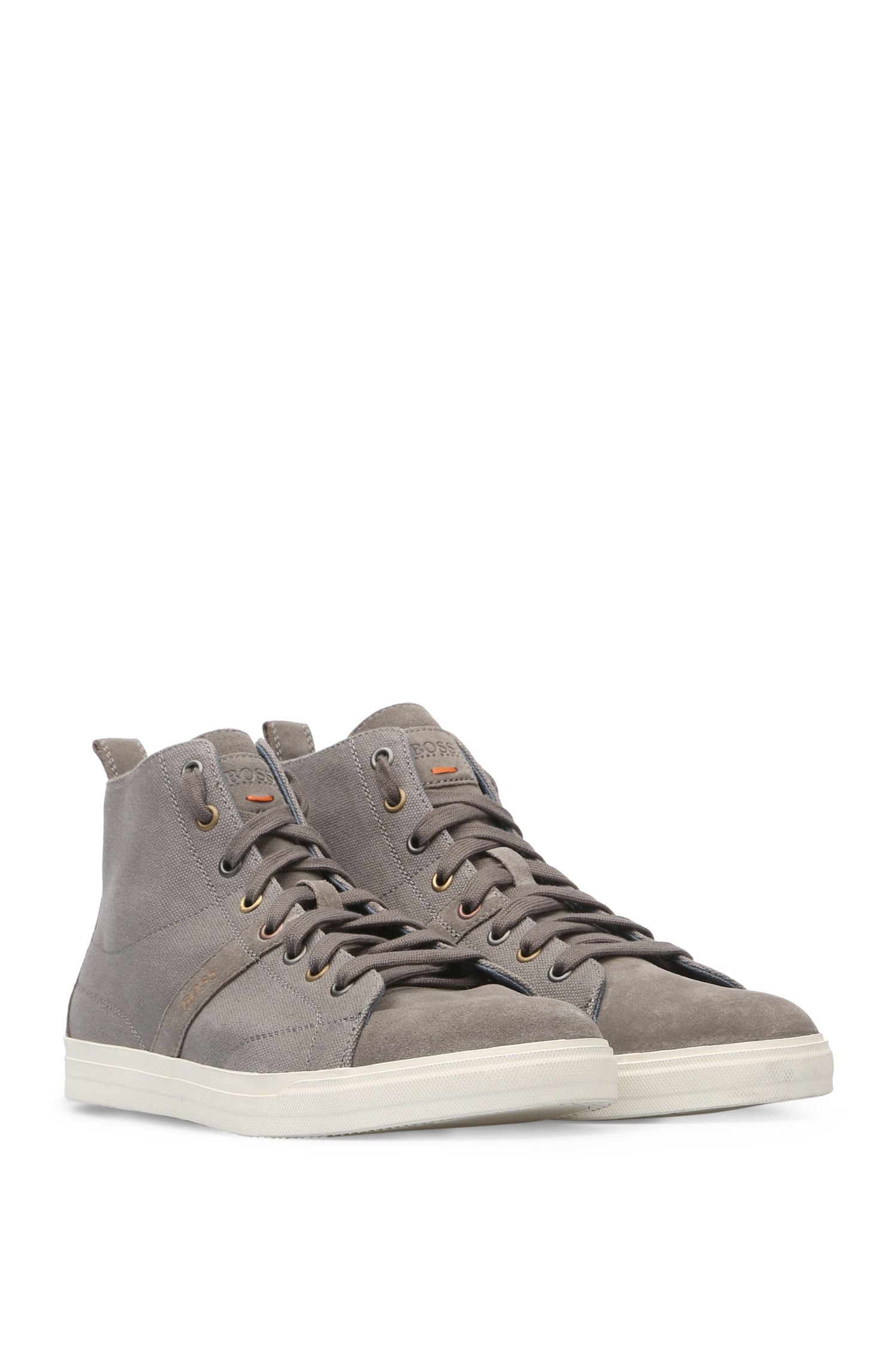 High-top trainers in cotton canvas with leather: 'Bushwick_Hicu_cv'