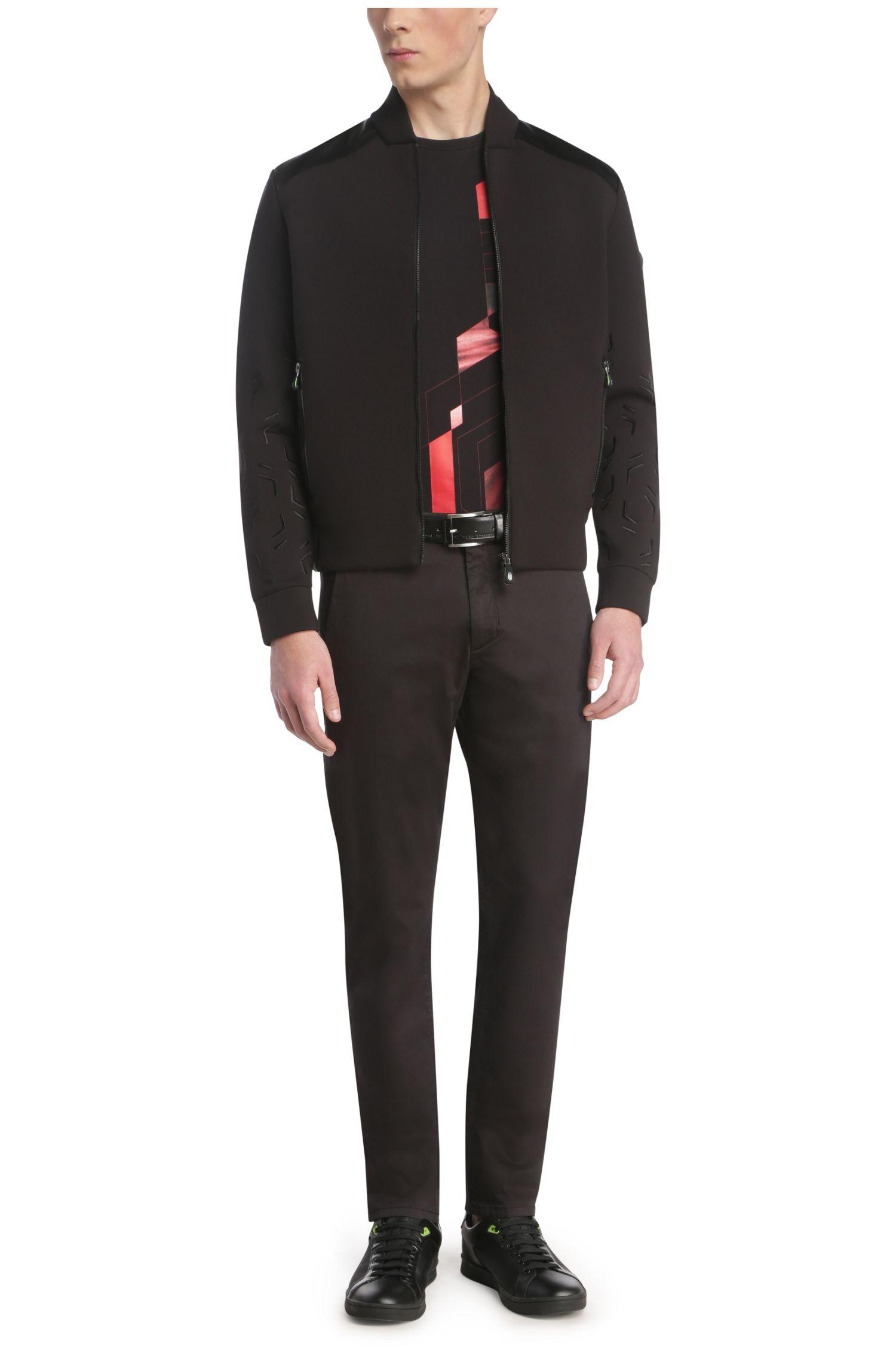 Sweatshirt-Jacke aus elastischem Baumwoll-Mix mit Schulterbesätzen: ´Sharrell`