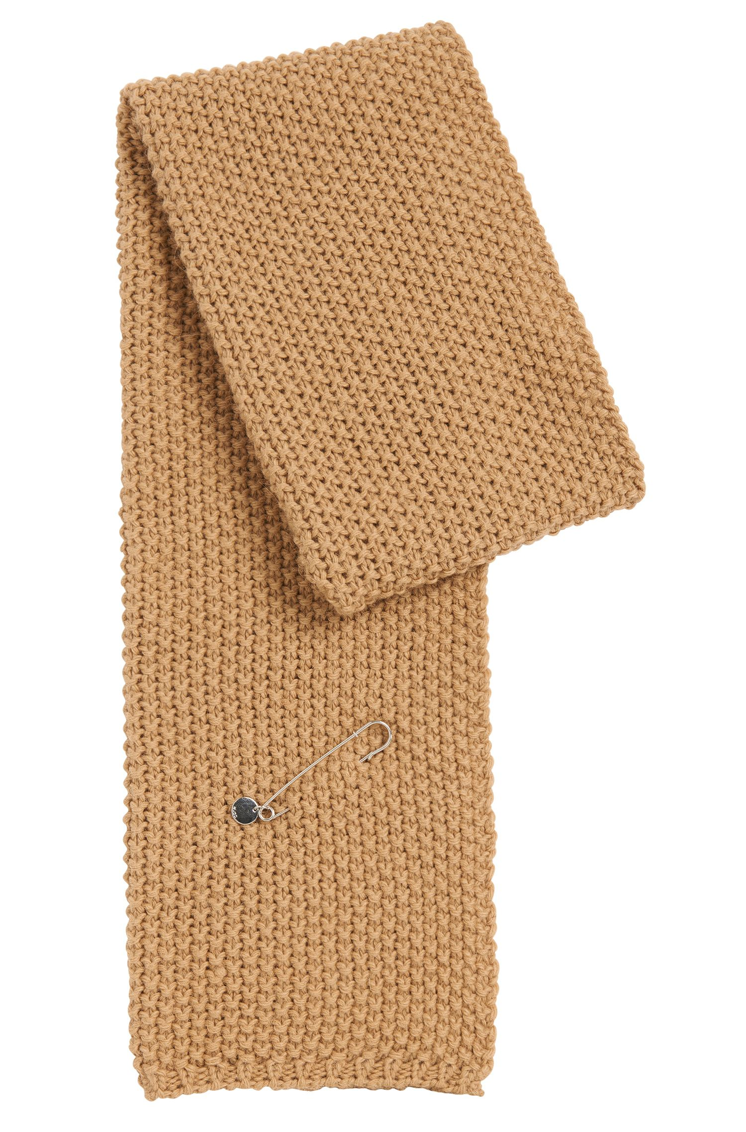 Plain scarf in alpaca blend with wool and with a pin for fastening: 'Women-Z 524'