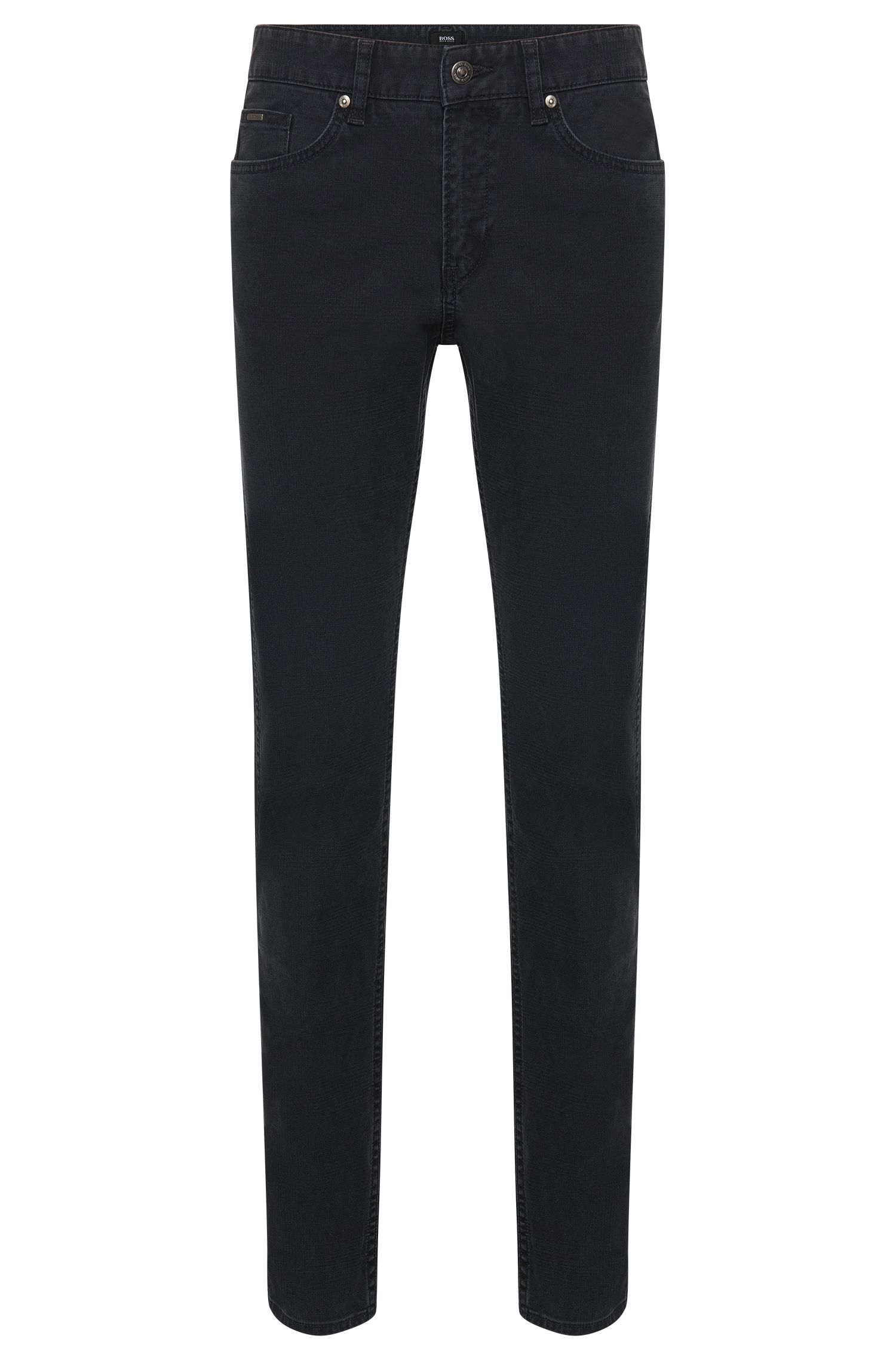 Finely textured slim-fit jeans in stretch cotton: 'Delaware3-20'