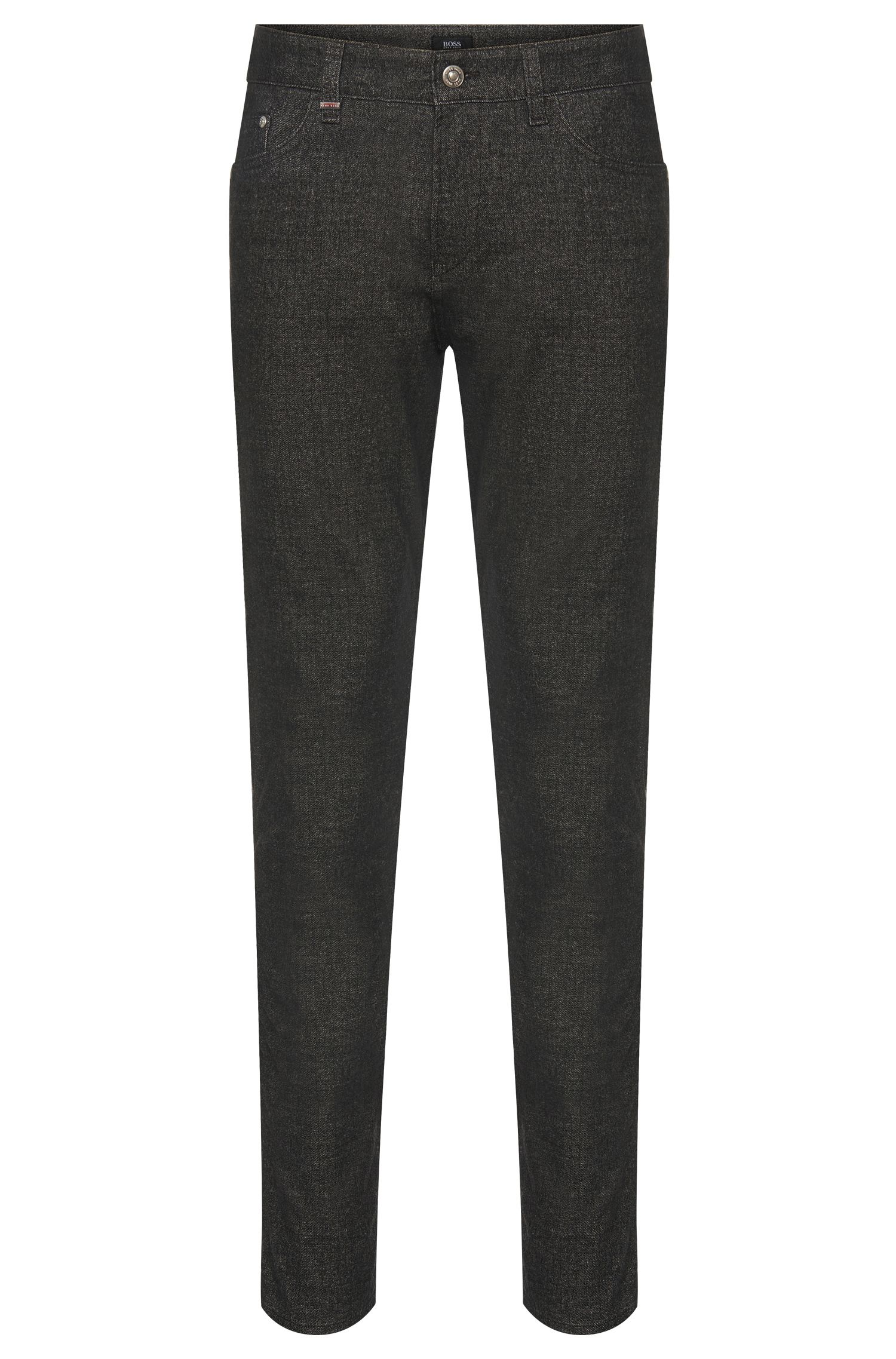 Pantaloni slim fit in misto cotone con motivo mélange: 'Delaware3-20'