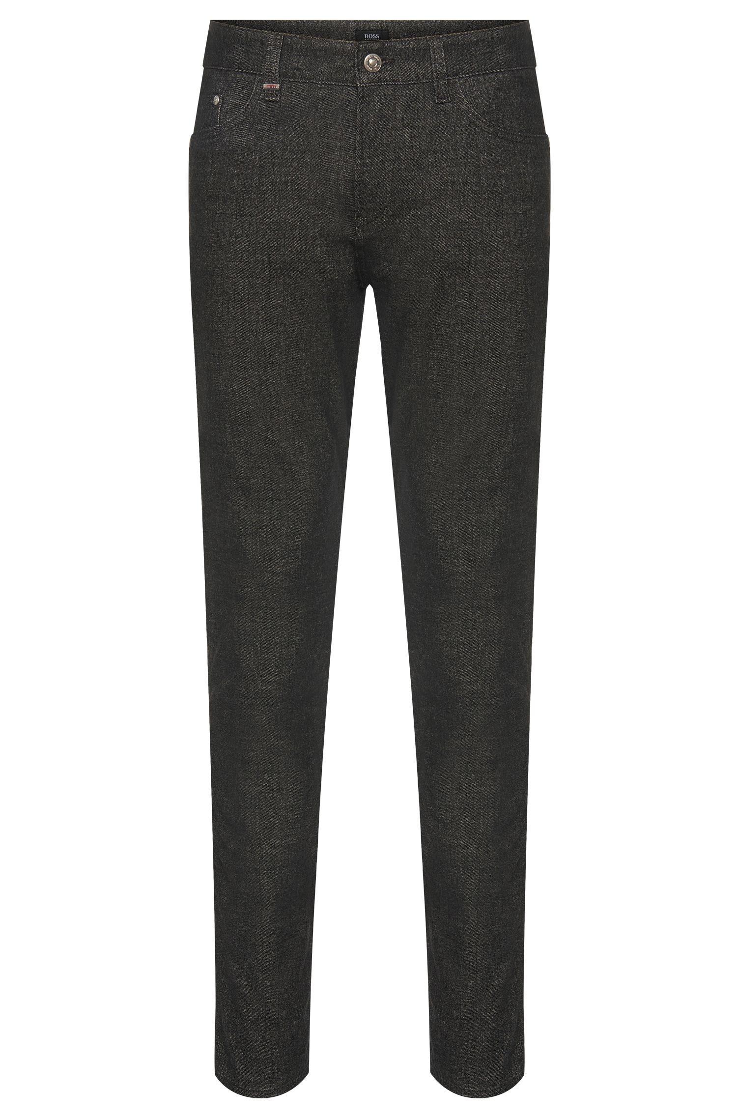 Mottled slim-fit trousers in cotton blend: 'Delaware3-20'