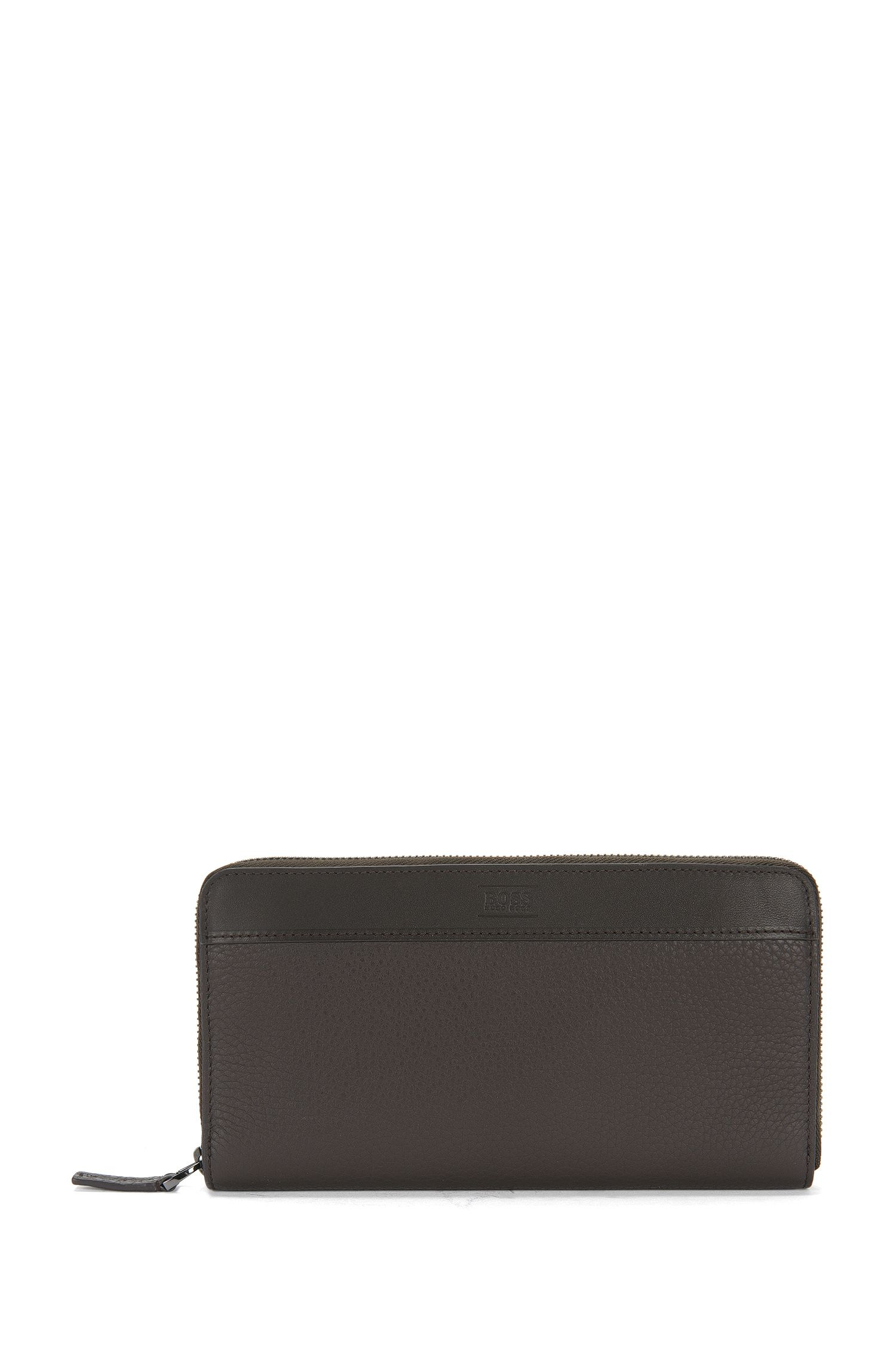 Leather wallet in continental format: 'Aspen_S zip trav'