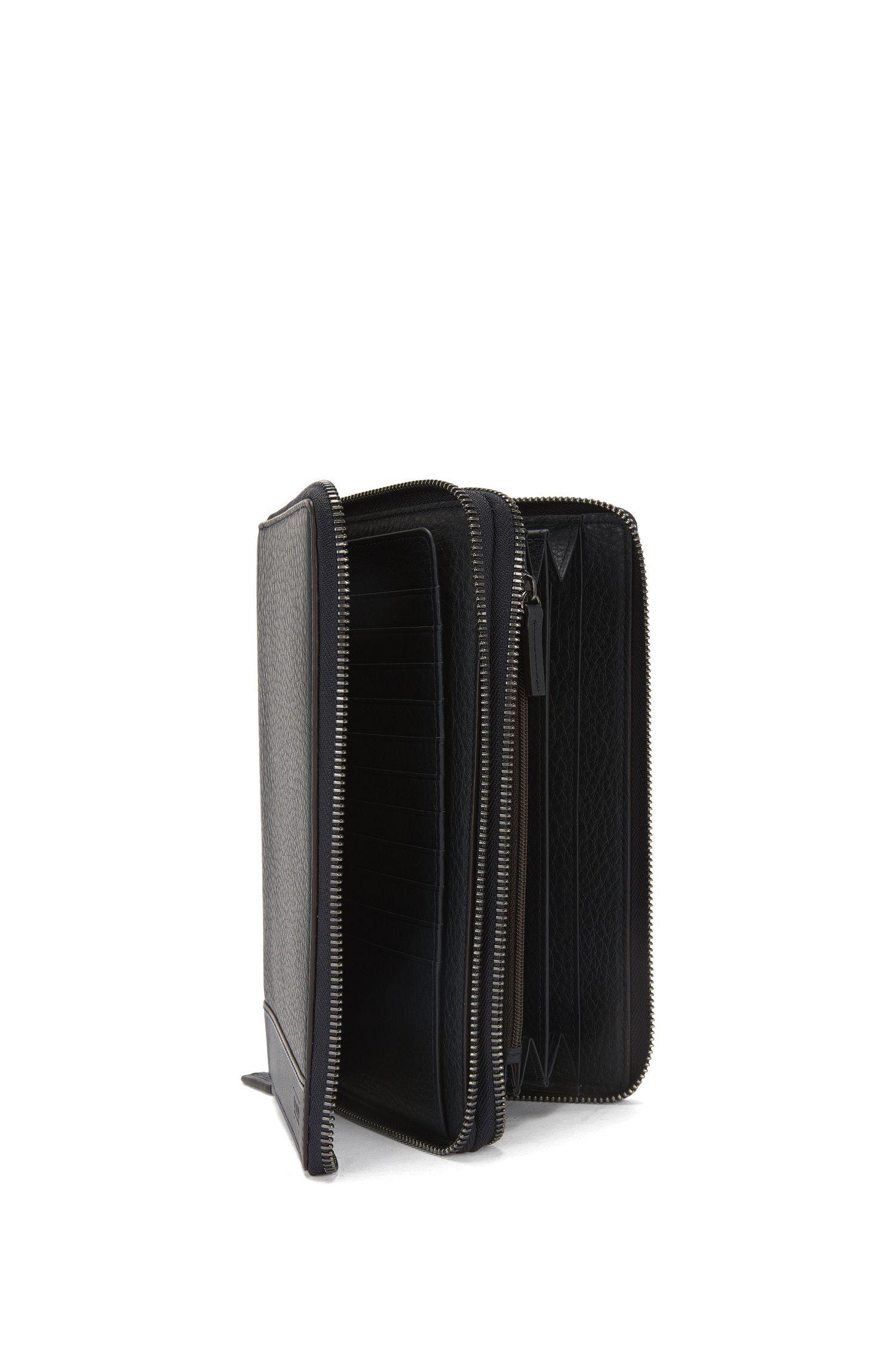 Geldbörse aus Leder mit zwei Hauptfächern: 'Aspen_D zip trav'